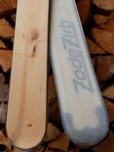 individuelle Zirbenholzski mit transparentem Belag